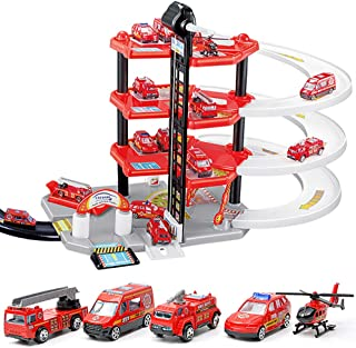 Deeptech Garage Play Set, Parking Tower Track Set, Garage Set, Fire Car Four-Storey Parking Garage, Simple Operation, Easy to Assemble and disassemble for Children