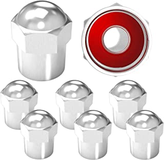 SAMIKIVA Brass (8 Pack) Rubber Seal Tire Valve Stem Caps, Dust Proof Covers Universal fit for Cars, SUVs, Bike and Bicycle, Trucks, Motorcycles Metal Round top Silver