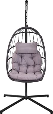 Egg Chair with Stand Indoor Outdoor Patio Wicker Hanging Chair Aluminum Frame Swing Chair Patio Egg Chair with UV Resistant G
