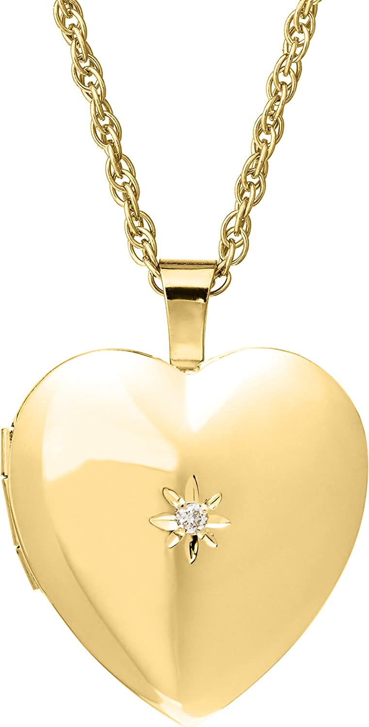 14k Gold-Filled Heart-Shaped Locket with Diamond,18
