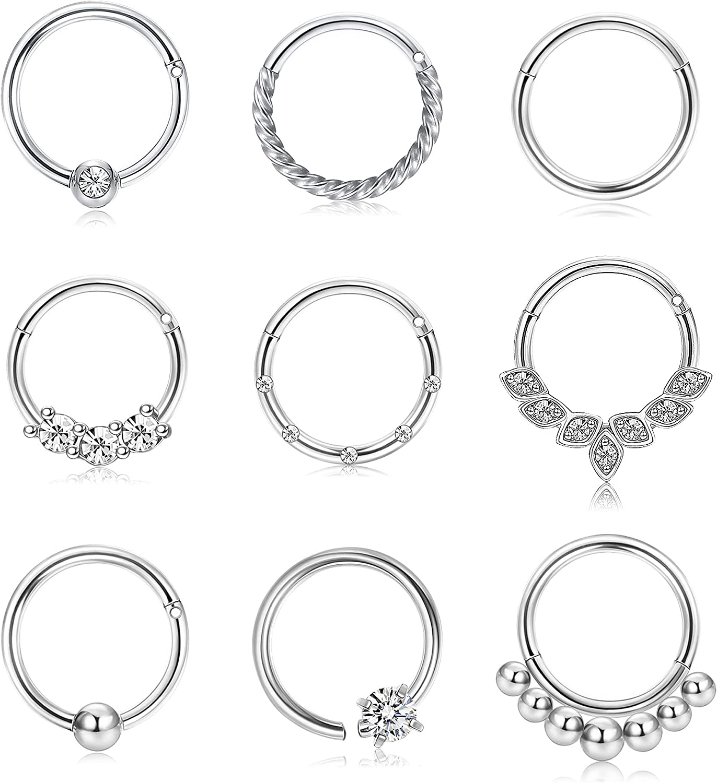 BodyBonita 9Pcs 16G Septum Inventory cleanup selling sale Nose Cartilage St Rings Earrings Max 47% OFF Hoop