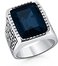 DALARAN Men Fashion Great Wall Embossed Cubic Zirconia Stainless Steel Ring Red Blue Green Yellow