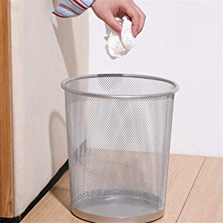 Dergo ☀ Trash can ,Metal Mesh Round Trash Can Wrought Iron Kitchen Without Lid Bucket (B)