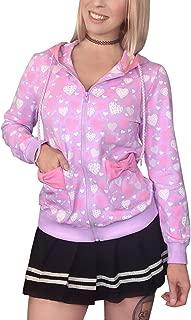 LittleForBig Women's Casual Regular Fit Long Sleeve Zip-up Drawstring Hoodie Sweetheart Jacket - Love Pattern