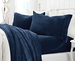 Great Bay Home Extra Soft Cozy Velvet Plush Sheet Set. Deluxe Bed Sheets with Deep Pockets. Velvet Luxe Collection (California King, Denim Blue)