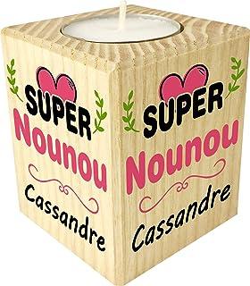 Gravure Events Bougie personnaliséeSuper Nounou – Porte Bougie en Bois personnalisé avec Le prénom – Cadeau de Fin d'anné...