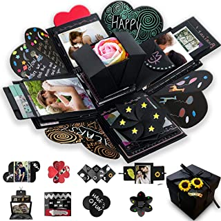Wanateber Creative Explosion Gift Box, DIY - Love Memory, Scrapbook, Photo Album Box, as Birthday Gift, Wedding or Valentine`s Day Surprise Box (Black)