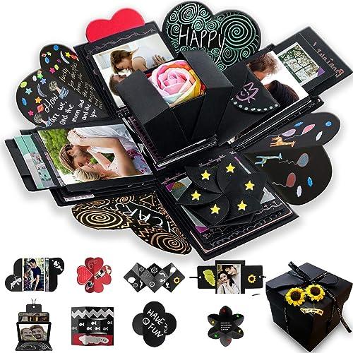 Wanateber Creative Explosion Gift Box, DIY - Love Memory, Scrapbook, Photo Album Box, as Birthday Gift, Anniversary Gifts, Wedding or Valentine's Day Surprise Box (Black)