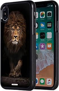 iPhone Xs Max Case,AIRWEE Slim Anti-Scratch Shockproof Silicone TPU Back Protective Cover Case for Apple iPhone Xs Max 6.5 inch 2018,Black Lion