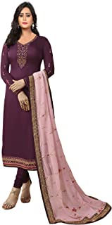 Ethnic Yard Womens Georgette Satin Straight Embroidered Semi Stitched Salwar Suit