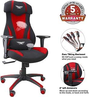 游戏办公椅,网布赛车椅,符合人体工程学电脑桌椅,带升降头枕和扶手 Power in Red