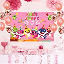 7x5ft Doo Doo Doo Pink Baby Shark Photo Banner Booth Props Pink Background Prop for Children Happy Birthday Party Photography Backdrops Decorations of Ocean (Pink)