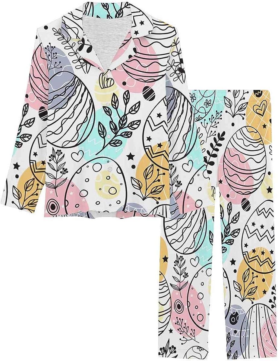 InterestPrint Notch Collar Soft Sleepwear Pj Set for Women Ornamental Eggs, Easter Holiday Colorful Background