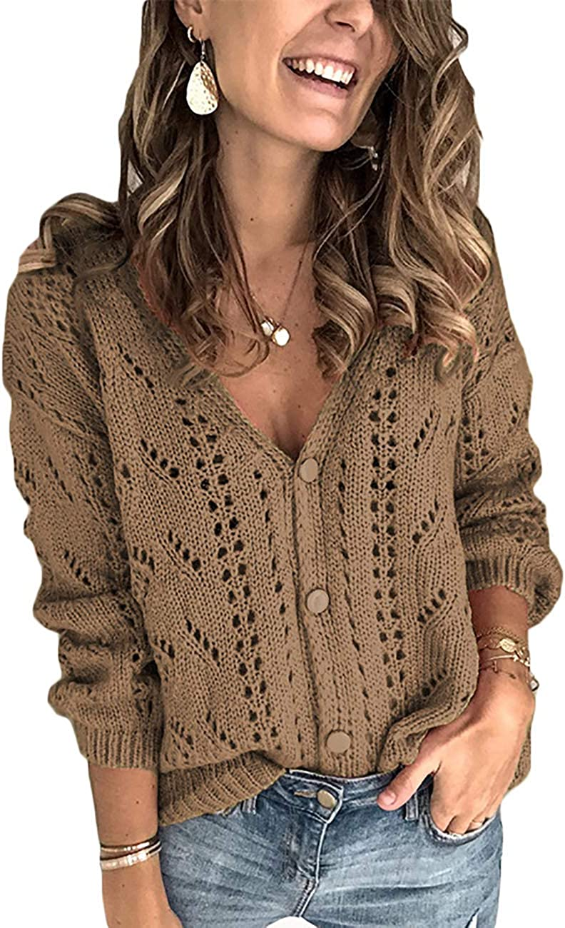 Tomwell Strickjacke Damen Langarm Cardigan Casual Strickcardigan mit Knopf Strickpullover Coat Jacke Open Front Sweater Braun