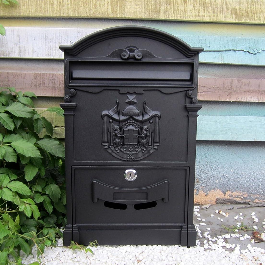 文句を言う長いです十年HZBc ヨーロッパスタイルのヴィラ、レターボックス、屋外防水壁吊り郵便箱、庭のレトロメールボックス、壁掛け装飾、シャンウェンブラック