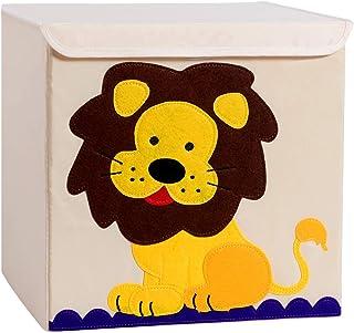 Shinyeagle Boite de Rangement avec Couvercle, Coffre à Jouet pour Enfants, Pliables Caisse Cube 33x33x33cm, pour Chambre B...