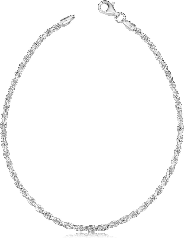Kooljewelry Sterling Silver Now New York Mall on sale Diamond-cut Chain Bracelet Ankl Rope