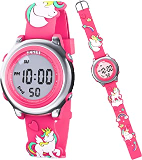 Unicorn Watch for Kids – Girl's Digital Watch – Pink Watch for Girls – Multifunctional Kid's Watch - Waterproof Watch with Lights – 3D Silicone Strap – Party Favors