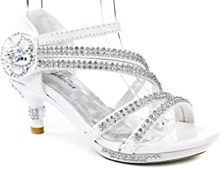 09ceaa3057dd78 Fabulous Glamour-28 Kids Rhinestone Flower Sparkling Bling Heel Designed  Dress Sandals