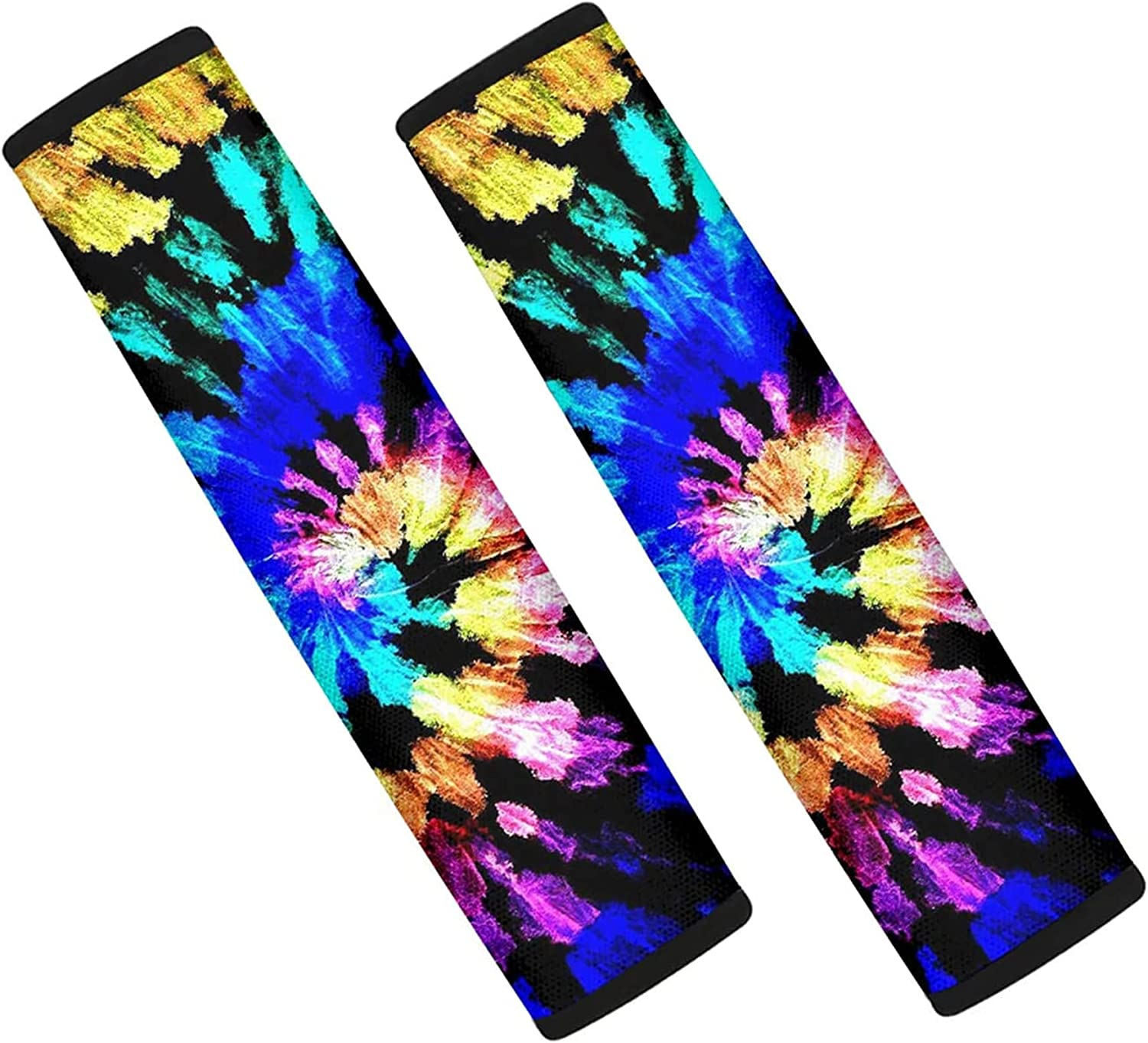 FOR U DESIGNS Auto Seat Belt Pads for Car Seat,Colorful Tie Dye Abstract Theme Backpack Shoulder Seat Belt Pad for Adults Universal Fit for Car, Truck, SUV,Set of 2