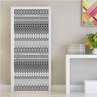 Homesonne Nordic,3D Door Wallpaper Murals Knitting Theme Chevron Pixel Art Pattern Scandinavian Ornament Classic Motifs Environmental Waterproof Grey White Black W17xH79 inch