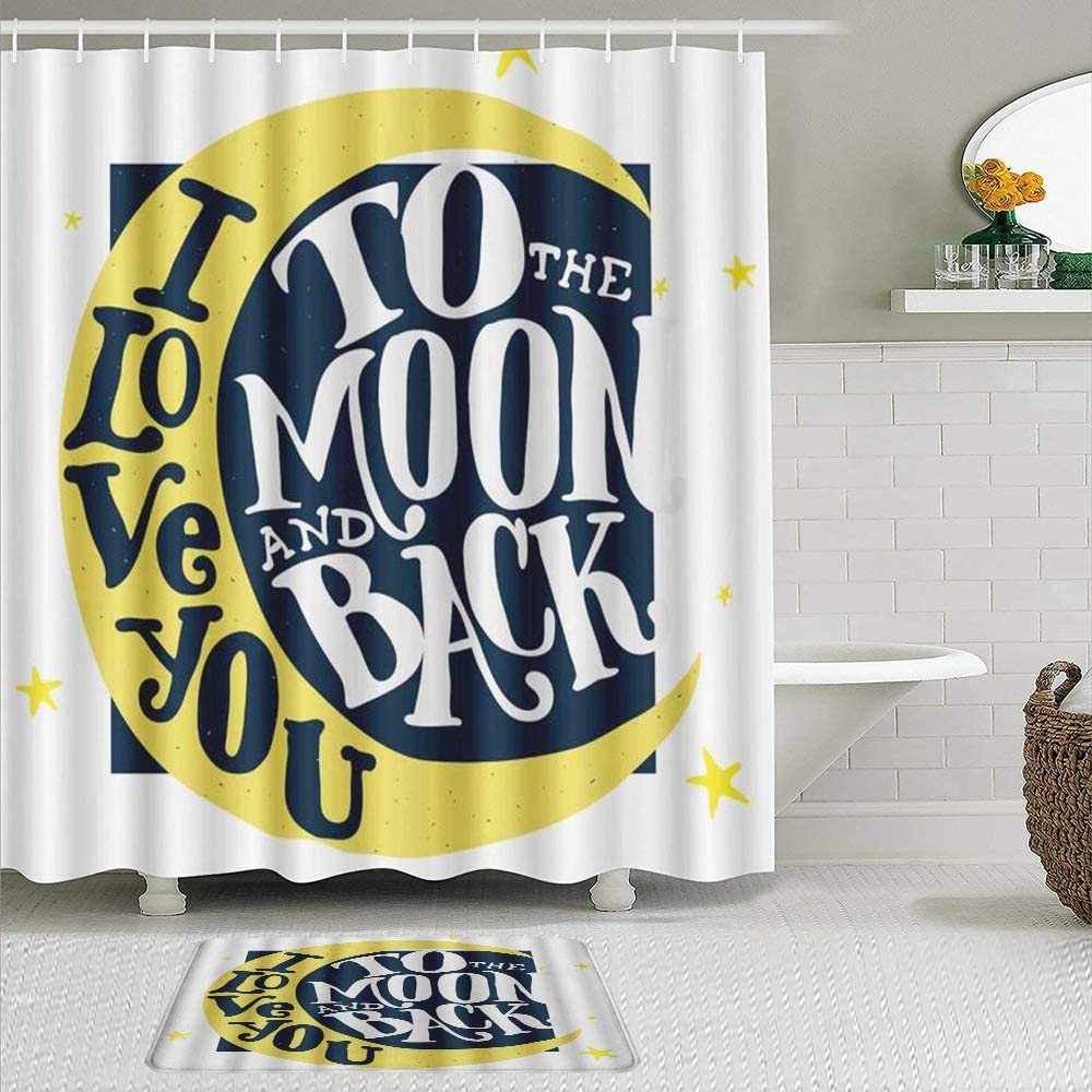 Long-awaited KENADVI Shower Curtain Sets with Non-Slip San Jose Mall Rugs and Stars Moon Ro