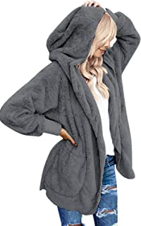 LookbookStore Women's Oversized Open Front Hooded Draped Pockets Cardigan Coat