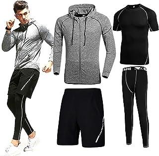 Men's Compression Pants Shirt Top Sleeve Short Sleeve Jacket Set Suit Sport Clothes for Men Loose Fitting Shorts High Elas...
