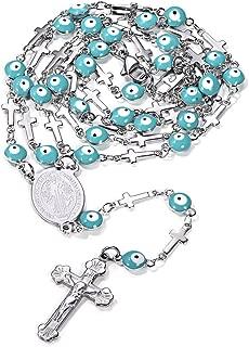 Collar Rosario con Medalla de San Benito/Nuestra Señora María y Crucifijo Jesús Encanto para Hombre y Mujer Acero Inoxidable Joyería con Perlas Coloradas (6 Colores)