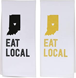 About Face Designs Eat Local Indiana Shape on White 26.5 x 19 Cotton Tea Dish Towel Set of 2
