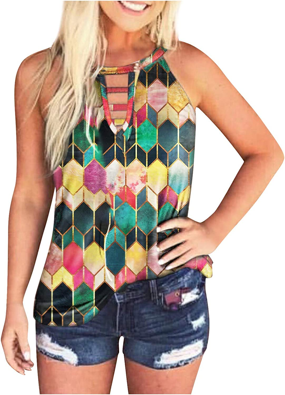 Womens Tank Tops, Summer Sleeveless Halter Neck Tops Blouse Print Fashion Casual Tunic Tank Tops