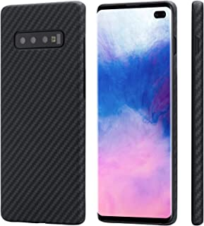 「PITAKA」MagEZ Case Samsung Galaxy S10+ 対応 ケース 軍用防弾チョッキ素材アラミド繊維 高級なカーボン風 超薄(0.65mm) 超軽量(16g) 超頑丈 耐衝撃 高耐久性 スリム 薄型 ワイヤレス充電対応ギ...