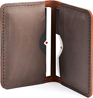 MaxGear Leather Business Card Holder Professional Bifold Business Card Case Pocket Business Cards Wallet Slim Credit Card Carrier for Men and Women, Crazy Horse Genuine Leather, Dark Brown