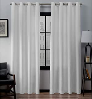 Exclusive Home Curtains Loha Linen Grommet Top Curtain Panel Pair, 52x96, Winter White