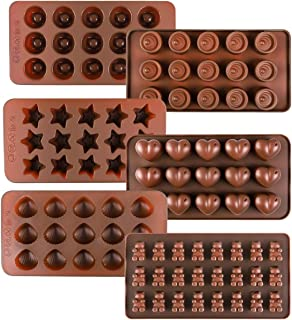Kootek 6 Pcs Silicone Chocolate Molds, Reusable 90 Cavity Candy Baking Mold Ice Cube Trays Candies Making Supplies for Chocolates Hard Candy Cake Decoration Soap Crayons Candles (Brown)
