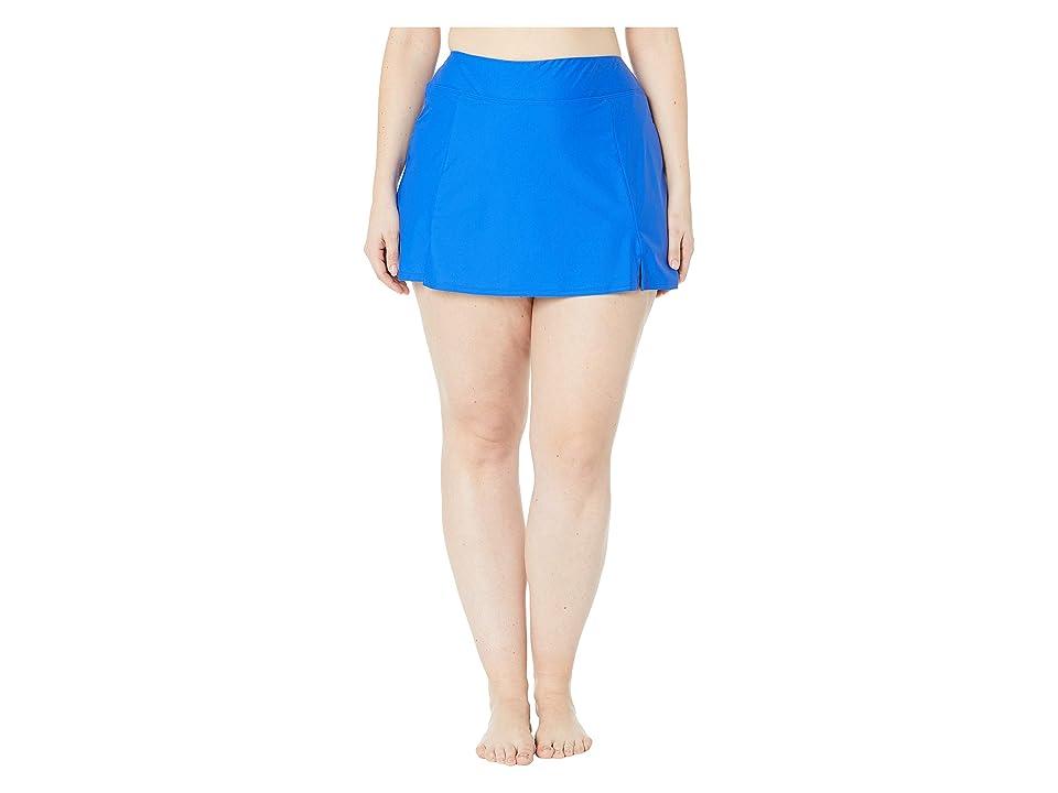 Maxine of Hollywood Swimwear Plus Size Solids Separate Waist Band Skort Bottoms (Cobalt) Women