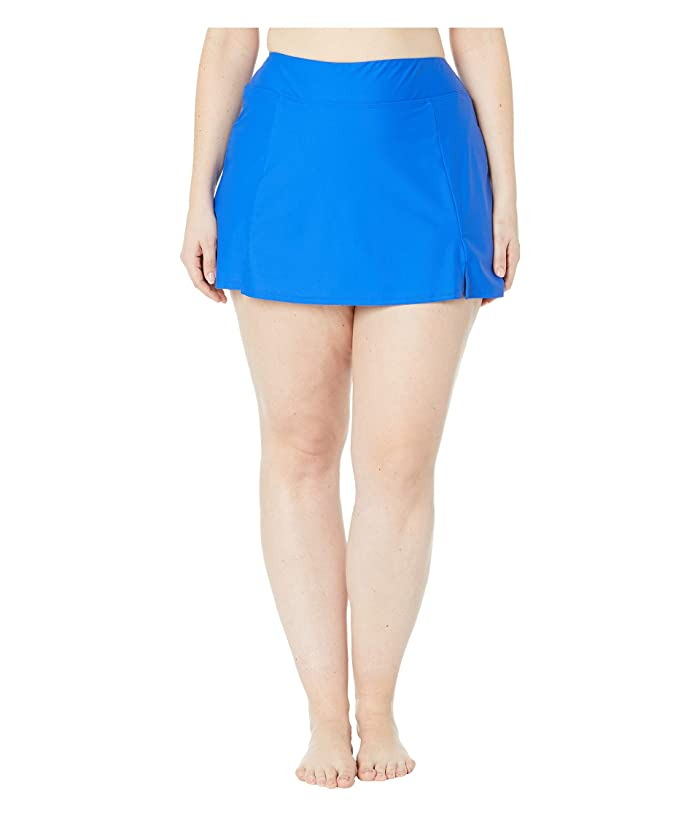 Maxine of Hollywood Swimwear Plus Size Solids Separate Waist Band Skort Bottoms (Cobalt) Women
