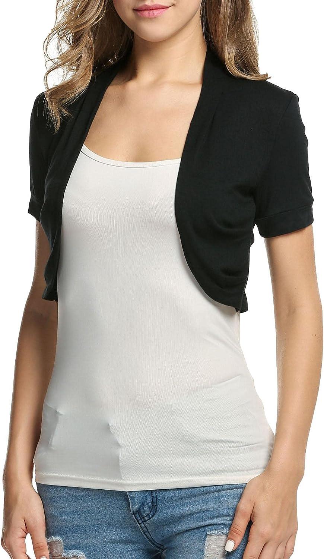 BEAUTYTALK Women's Short Sleeve Shrug Casual Open Front Cropped Cardigan Summer Ruffled Bolero Jacket