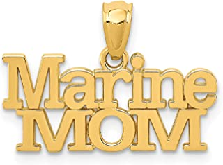 14k Yellow Gold Polished Marine Mom Words Pendant 14x20mm