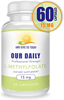 Our Daily Vites L-Methylfolate 15 mg / 15000 mcg Maximum Strength Active Folate, 5-MTHF, Filler Free, Gluten Free, Non-GMO, Vegetarian Capsules 60 Count (2 Month Supply)