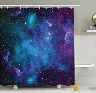 Chengsan Galaxy Shower Curtain Set Starry Night Nebula Cloud in Galaxy Theme Image Space Decorations Print Fabric Bathroom Decor with Hooks(65x71 inch, Galaxy)