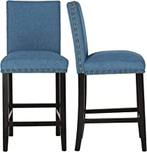 GOTMINSI Upholstered Counter Height Stools, 24 Inches Bar Stools with Bronze Nail Heads and Solid Wood Legs, Set of 2 (Blue)