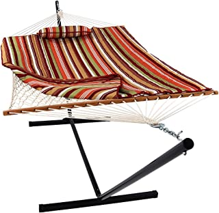 Sunnydaze Cotton Rope Hammock with 12 Foot Portable Steel Stand and Spreader Bar, Indoor or Outdoor Use, Pad and Pillow In...