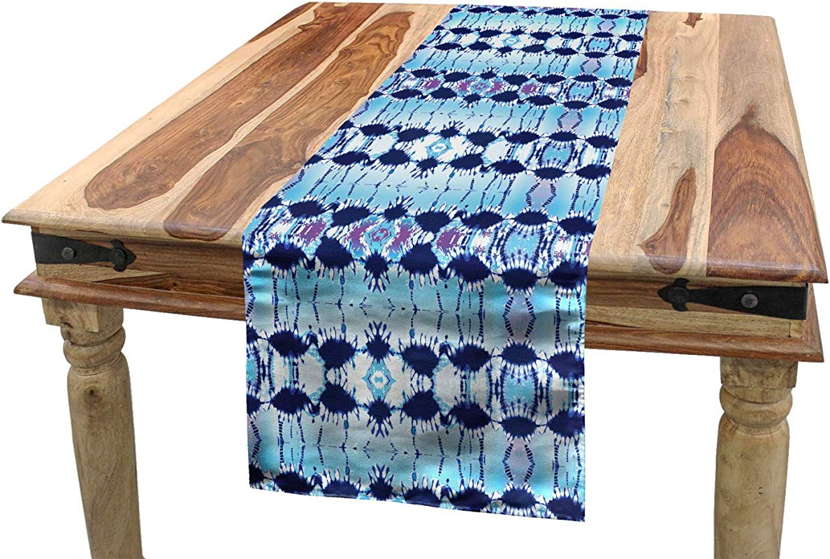 Ambesonne Ethnic Table Runner Pattern In Blue Shades Psychedelic Batik Design Dining Room Kitchen Rectangular Runner 16 X 72 Pale Blue Navy Blue And Fuchsia
