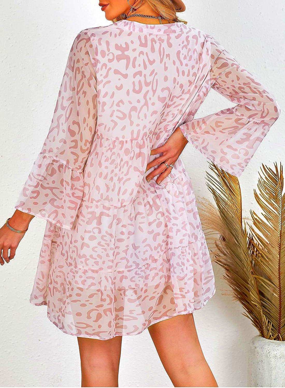 Happy Sailed Womens Long Sleeve V Neck Tunic Dress Leopard Print Swing Party Midi Dress