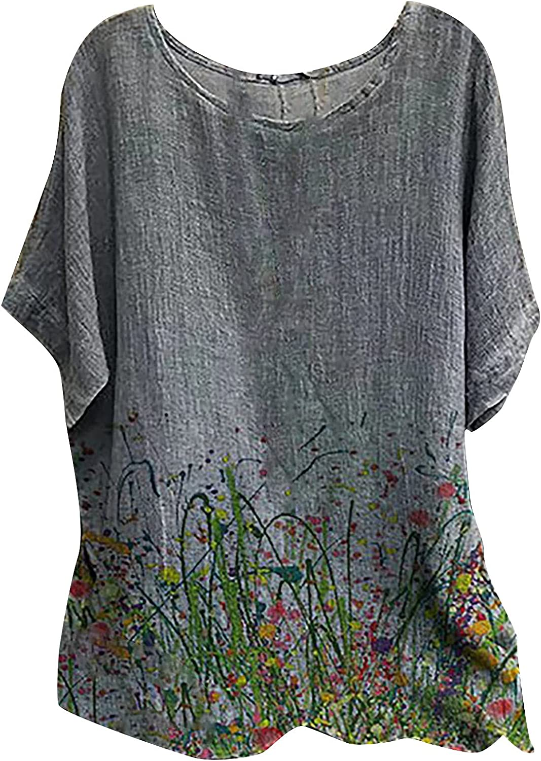 Plus Size Tops for Women Summer Flared Sleeve Floral Print Casual T-Shirt Blouse Oversized Cotton Tunics Gray