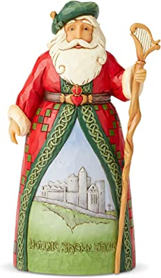 Enesco Jim Shore Heartwood Creek Santa's Around The World Irish Figurine, 7.1 Inch, Multicolor