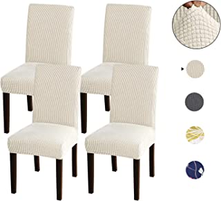 Acko Chair Covers, Universal Strechy Chair Cover Washable, Removable Dining Chair Slipcovers Soft Chair Protector Covers for Wedding Banquet Party Decoration Dining Room Set of 4, Beige