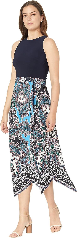 Vince Camuto Women's Printed Twofer Midi Dress with Asymmetrical Hem