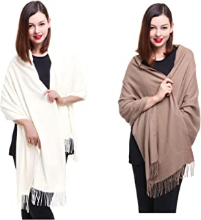 REEMONDE Large Extra Soft Cashmere Blend Women Pashmina Shawl Wrap Stole Scarf (2 Pack - Cream & Camel)
